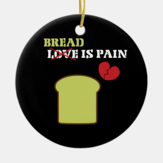 Bread is Pain Double-Sided Ceramic Round Christmas Ornament