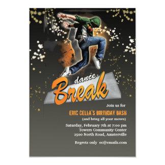 """Break Dance Invitation 5"""" X 7"""" Invitation Card"""