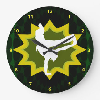 Break Dancer on Cool Retro Background Large Clock