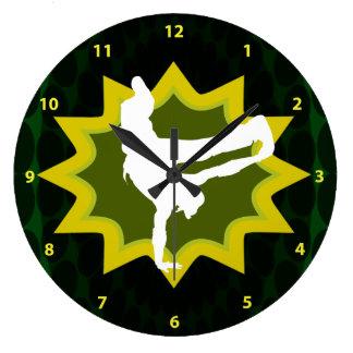 Break Dancer on Cool Retro Background Wall Clocks