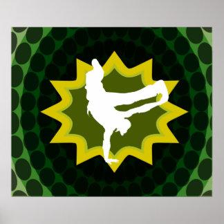 Break Dancer With Groovy Retro Background Print