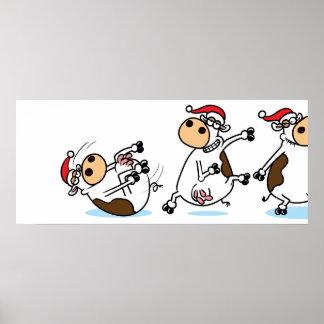 Break Dancing Christmas Cow Print
