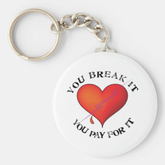 Break It Pay Heart Basic Round Button Key Ring