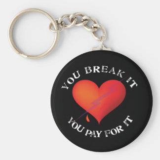 Break It Pay Heart Basic Round Button Key Ring