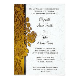"Break Through Damask Caramel Wedding Invitatio 5"" X 7"" Invitation Card"