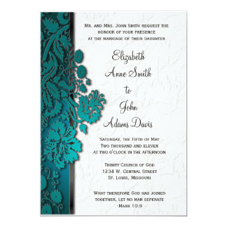 Break Through Damask Teal Wedding Invitatio 13 Cm X 18 Cm Invitation Card
