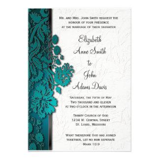 Break Through Damask Teal Wedding Invitatio Personalized Invitations