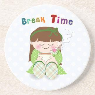 Break time - Cute Kawaii Girl Relaxing Beverage Coasters