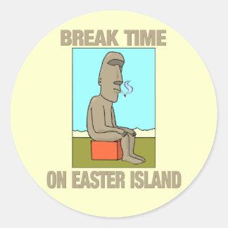 Break time on Easter Island Round Sticker