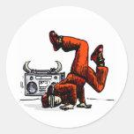 Breakdancer and Box Hip Hop Round Sticker
