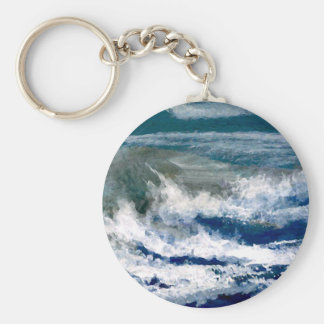 Breakers on the Rocks Seascape Ocean Waves Art Basic Round Button Key Ring
