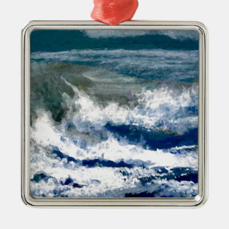 Breakers on the Rocks Seascape Ocean Waves Art Silver-Colored Square Decoration