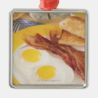 Breakfast 2 Silver-Colored square decoration