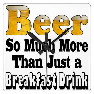 Breakfast Beer Square Wall Clock