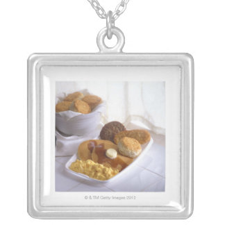 Breakfast combo silver plated necklace