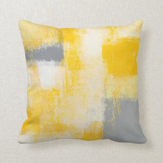 'Breakfast' Grey and Yellow Abstract Art Pillow