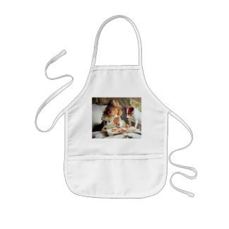 Breakfast in Bed: Girl, Terrier and Kitty Cat Aprons