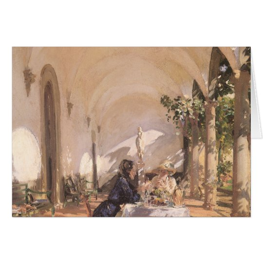 Breakfast in Loggia by Sargent, Vintage Victorian Card