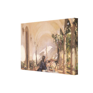 Breakfast in Loggia by Sargent, Vintage Victorian Gallery Wrapped Canvas