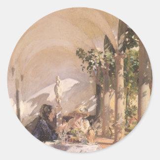 Breakfast in Loggia by Sargent, Vintage Victorian Round Sticker