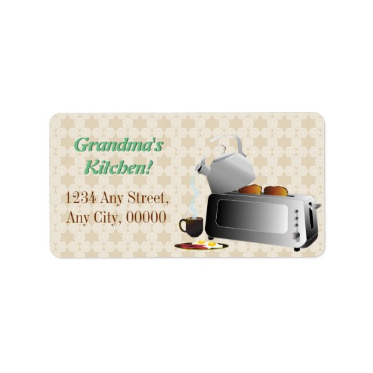 Breakfast Kitchen Pattern Label