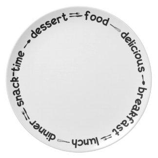 Breakfast Lunch & Dinner text plate