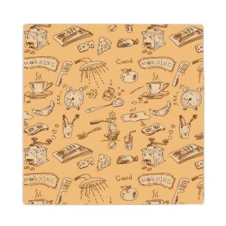 Breakfast Pattern 2 Wood Coaster