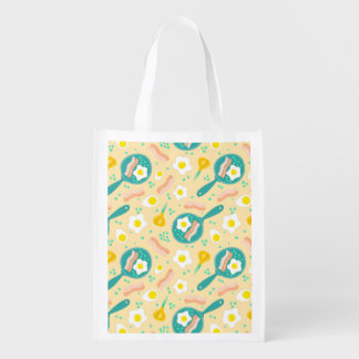 Breakfast Pattern Reusable Grocery Bag
