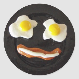 Breakfast Silly Face Classic Round Sticker