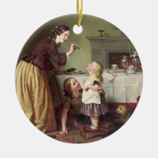 Breakfast Time - Morning Games (oil on canvas) Round Ceramic Decoration