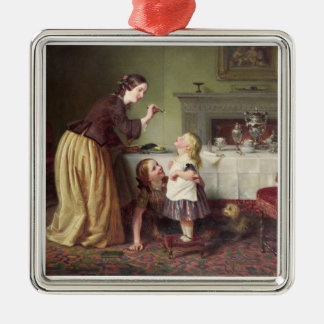 Breakfast Time - Morning Games (oil on canvas) Silver-Colored Square Decoration