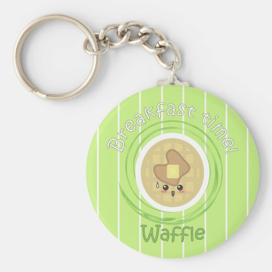 Breakfast Time - Waffle Basic Round Button Key Ring
