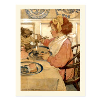 Breakfast With Teddy Bear Postcard