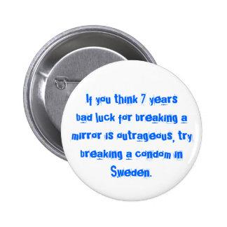 Breaking a Condom in Sweden... 6 Cm Round Badge