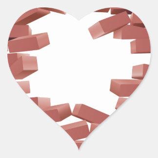 Breaking Brick Wall Heart Sticker