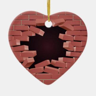 Breaking Brick Wall Hole Ceramic Heart Decoration
