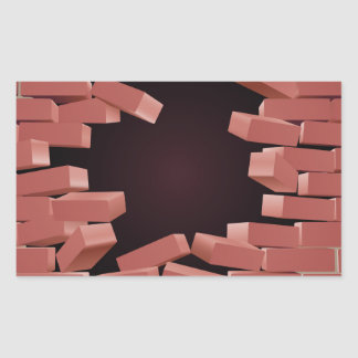 Breaking Brick Wall Hole Rectangular Sticker