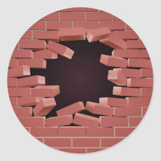 Breaking Brick Wall Hole Round Sticker