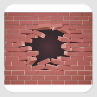 Breaking Brick Wall Hole Square Sticker