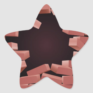 Breaking Brick Wall Hole Star Sticker