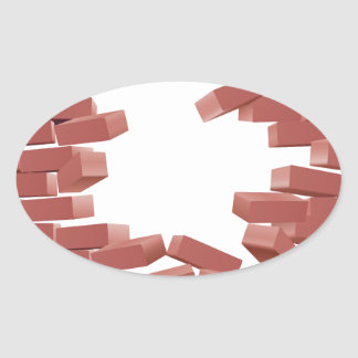 Breaking Brick Wall Oval Sticker