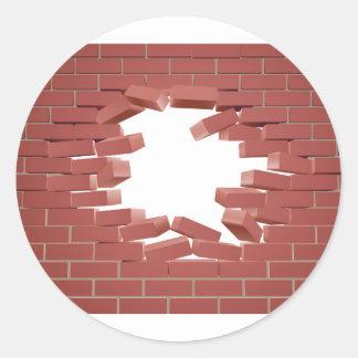 Breaking Brick Wall Round Sticker