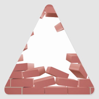 Breaking Brick Wall Triangle Sticker