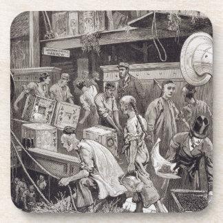 Breaking Bulk on Board a Tea Ship in the London Do Drink Coaster