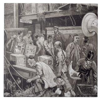 Breaking Bulk on Board a Tea Ship in the London Do Large Square Tile