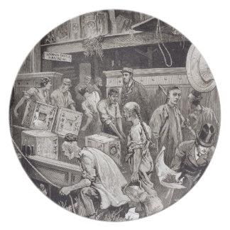 Breaking Bulk on Board a Tea Ship in the London Do Party Plate