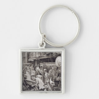 Breaking Bulk on Board a Tea Ship in the London Do Silver-Colored Square Key Ring