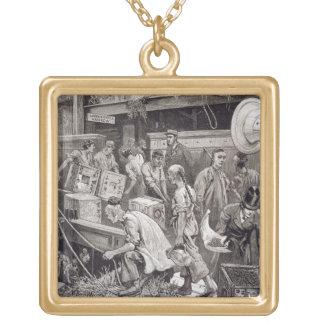 Breaking Bulk on Board a Tea Ship in the London Do Square Pendant Necklace