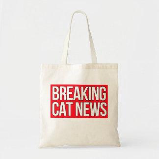 Breaking Cat News logo tote