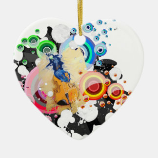 Breaking free Double-Sided heart ceramic christmas ornament